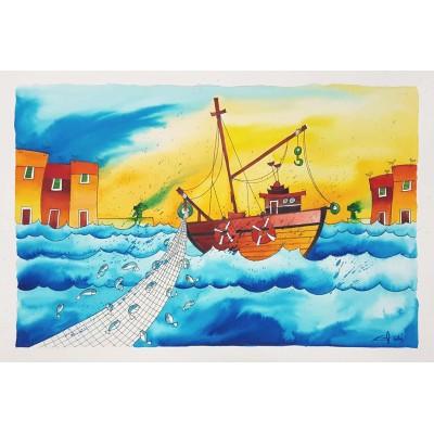 gonzi - brodovi, akvarel 21