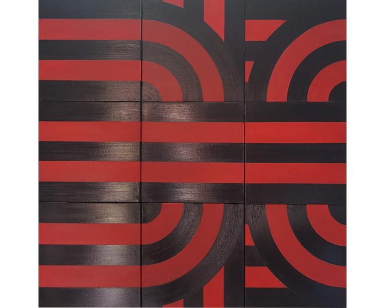 kovaivan - crveno i crno, slika u 9 dijelova
